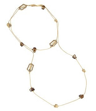 Kenneth Cole New York Pavé Geometric Link & Shell Chip Bead Long Necklace