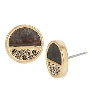 Kenneth Cole New York Pavé Shell Round Stud Earrings
