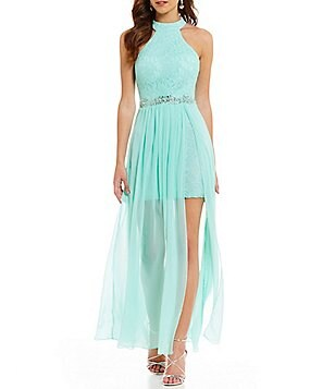 B. Darlin Mock Neck Beaded Lace Bodice Long Dress