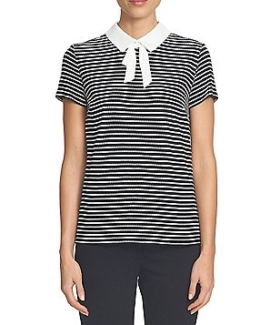 CeCe Short Sleeve Scallop Knit Tie- Neck Collared Top