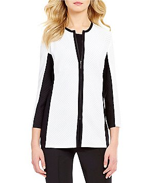 Misook Jewel Neck Long Sleeve Contrast Trim Jacket
