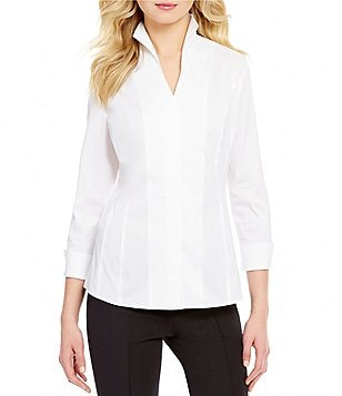 Misook Stand Collar 3/4 Sleeve Button Front Solid Shirt