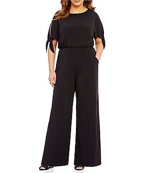 Vince Camuto Plus Boat Neck Short Sleeve Cold-Shoulder Jumpsuit