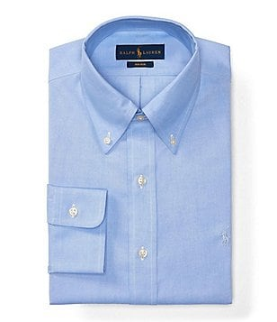 Polo Ralph Lauren Non-Iron Fitted Classic-Fit Pinpoint Oxford Button-Down Collar Dress Shirt