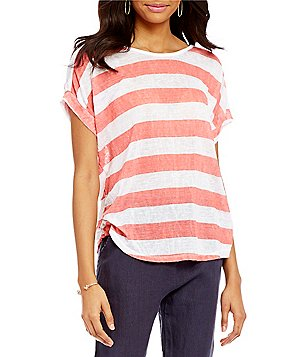 M Made in Italy Scoop Neck Cap Sleeve Striped Top