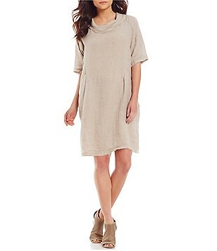 M Made in Italy Scoop Neck Short Sleeve Linen Dress