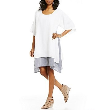 M Made in Italy Elbow Length Sleeve Layered Shirt Dress