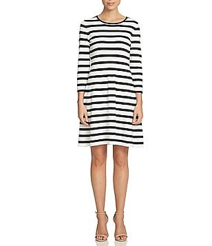 CeCe Round Neck 3/4 Sleeve Striped Dress