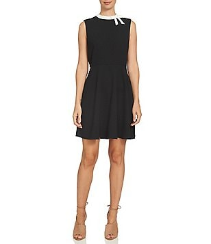 CeCe Short Sleeve Mock-Neck Fit and Flare Dress