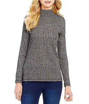 Multiples Long Sleeve Rib Knit Solid Mock Neck Top