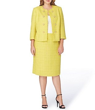 Tahari ASL Plus Boucle Double-Breasted Skirt Suit