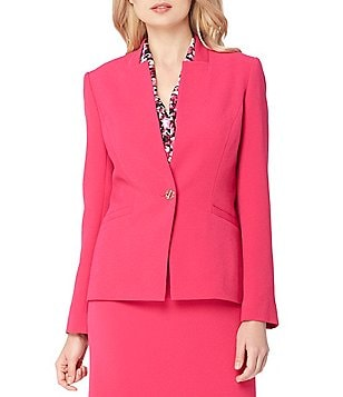 Tahari ASL Inverted Notch Collar Solid Stretch Crinkle Jacket