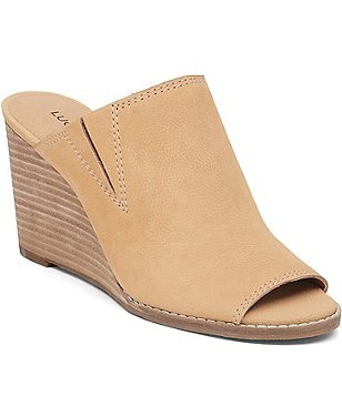 Lucky Brand Leather Slip-On Peep Toe Wedge Sandals