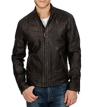 Lucky Brand Thruxton Full-Zip Leather Moto Jacket