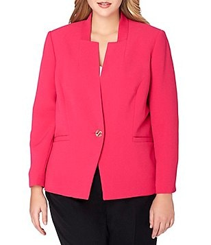 Tahari ASL Plus Inverted Notch Collar Long Sleeve Stretch Crinkle Jacket