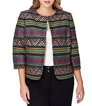 Tahari ASL Plus Round Neck Long Sleeve Multi-Colored Jacquard Jacket