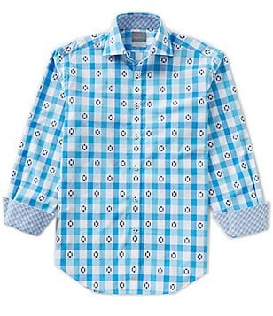 Thomas Dean Big & Tall Check Novelty-Print Long-Sleeve Woven Shirt