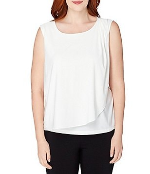 Tahari ASL Plus Sleeveless Asymmetrical Layered Stretch Jersey Blouse