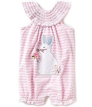 Mud Pie Baby Girls 3-18 Months Striped Easter Bunny-Appliqué Romper