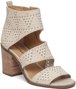 Lucky Brand Lugo Banded Leather Laser Cut Block Heel Shooties
