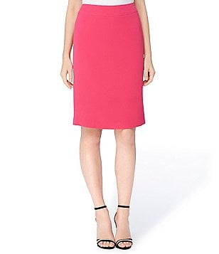 Tahari ASL Petite Solid Stretch Crinkle Pencil Skirt