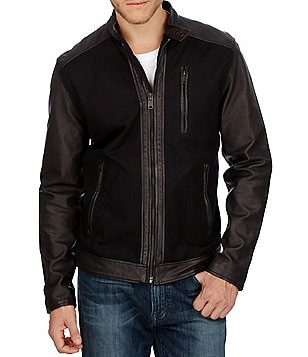 Lucky Brand Zip-Front Cotton and Leather Jacket