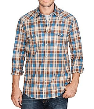 Lucky Brand San Berdu Plaid Poplin Long-Sleeve Western Shirt