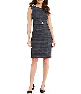Kasper Belted Twill Sleeveless Sheath Dress