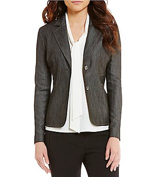 Kasper Long Sleeve Front Button Denim Blazer