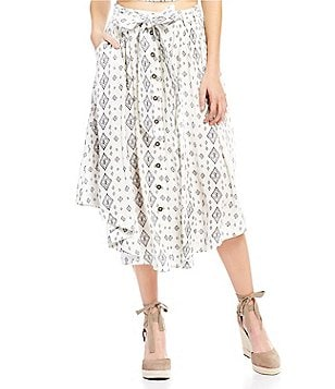 Moon River Button Down Self-Tie Belt Printed Midi Skirt