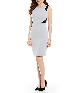 Kasper Round Neck Sleeveless Empire Waist Colorblock Crepe Sheath Dress
