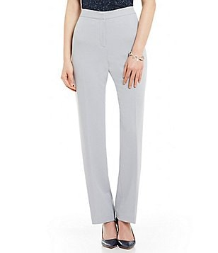 Kasper Flat Front Solid Stretch Crepe Straight Leg Pants
