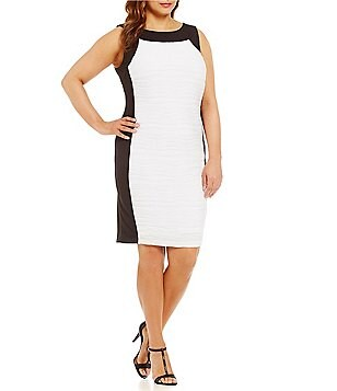 Calvin Klein Plus Wavy Textured Sheath Dress