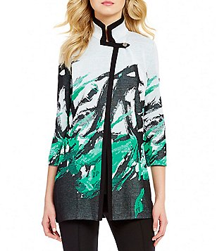 Misook Mandarin Collar 3/4 Sleeve Printed Jacket
