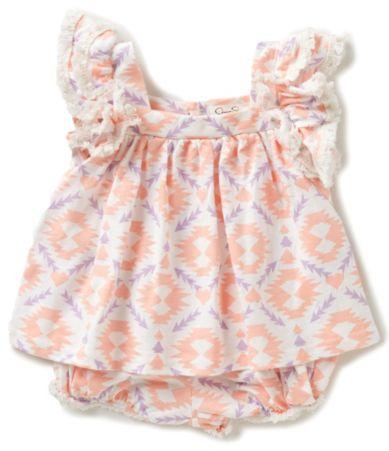 Jessica Simpson Baby Girls Newborn 9 Months Printed Ruffle