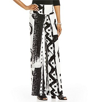 Evan Varro Pull-On Printed Palazzo Pants