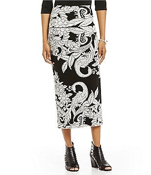 Evan Varro Double Waistband Straight Midi Skirt