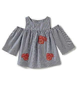 GB Girls Big Girls 7-16 Floral Striped Cold-Shoulder Bell-Sleeve Blouse
