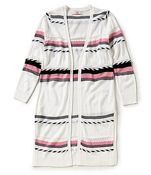GB Girls Big Girls 7-16 Stripe Open-Front Cardigan Duster