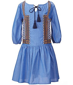 GB Girls Big Girls 7-16 Embroidered Drop-Waist Dress