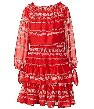 GB Girls Big Girls 7-16 Off-The-Shoulder Ruffle-Tier Printed Peasant Dress