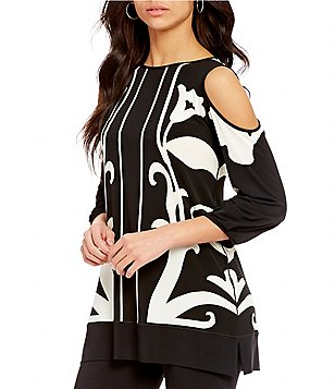 Eva Varro Cold-Shoulder Puff-Sleeve Printed Swing Tunic