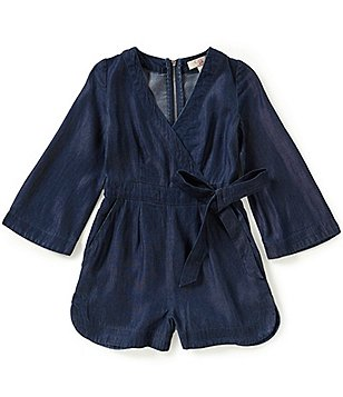 GB Girls Big Girls 7-16 Wrap-Front Surplice V-Neck Bell-Sleeve Chambray Romper
