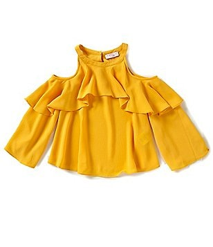 GB Girls Big Girls 7-16 Ruffle Cold-Shoulder Blouse