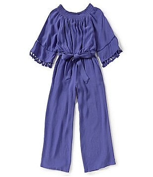 GB Girls Big Girls 7-16 Off-The-Shoulder Smocked Tassel 3/4-Sleeve Jumpsuit