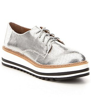 Steve Madden Vassar Perforated Metallic Lace Up Platform Oxfords