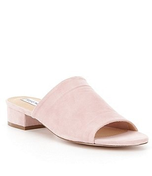 Steve Madden Briele Suede Peep-Toe Block Heel Slip-On Mules