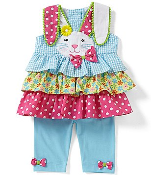 Rare Editions Baby Girls 3-24 Months Easter Bunny Seersucker Dress & Solid Leggings Set