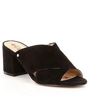 Sam Edelman Stanley Criss Cross Suede Block Heel Slide Sandals
