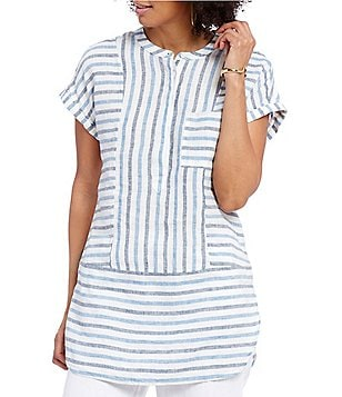Two by Vince Camuto V-Neck Short Sleeve Blue Multi Linen Tunic